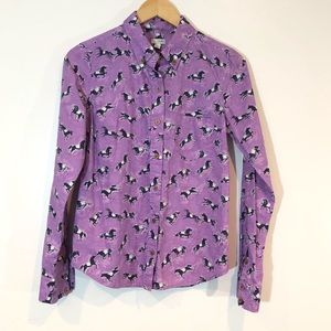 Odille Anthropologie Horse Print Button Down